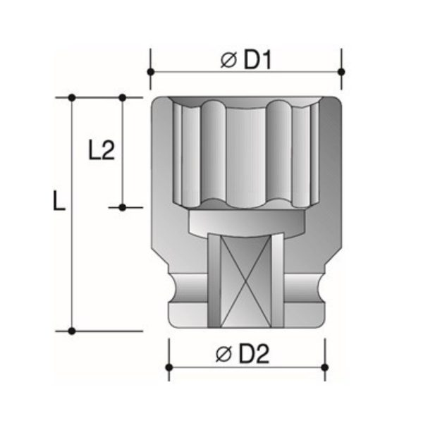 6 Point Impact Sockets - Dimension Diagram